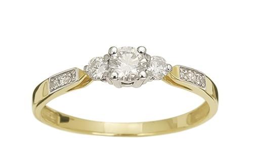 Pierścionek Zaręczynowy Z Diamentami 029 Ct Z Białego I żółtego